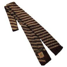Knit Unisex Tie in Stripes Chocolate Brown & Gold Berkley Brand
