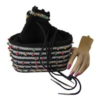 Drawstring Crochet Purse in Black with Multi Color Beads & Silver Metallic Trim