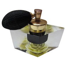 Fantastic Evans Atomizer Mid Century Perfume Bottle in Clear Acrylic Embedded Yellow Rose and Black Well and Atomizer