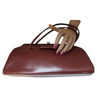 Vintage Handbag Purse in Fall Winter Tone of Cordovan Vinyl Narrow Shape with Slim Handles