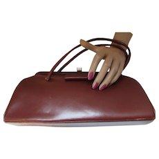 Vintage Handbag Purse in Fall Winter Tone of Cordovan Vinyl Narrow Shape with Slim Handles