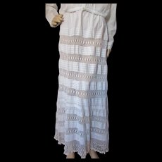 Gorgeous Victorian Edwardian Era Petticoat or Summer Skirt in Bands of Crochet Lace and Pintucking