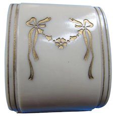 Vintage Ring Box in Cream Tone with Incised Gold Tone Ribbon Swag Bolender Store Rockford Illinois Made in USA