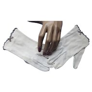 Ladies White Gloves with Rhinestone Edging Wrist Length