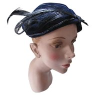 Navy Velvet Hat with Blue Bead Decoration and Navy Curved Feathers by Sunnyland Hats