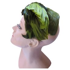 Avocado & Kiwi Green Feather Half Hat D'Orsay
