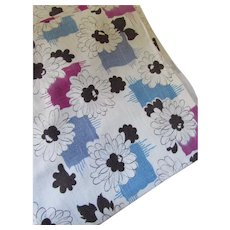 Feed Sack Curtain Panels White Black Daisies Blue Magenta Accents 5 Panels