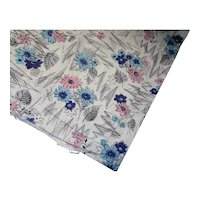 Cotton Fabric White with Blue Pink Flowers 5 Yards