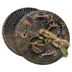 Reed Sewing Basket Asian Influence Beads, Coins, Tassels