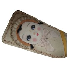 Unusual Decorative Wood Paddle with Girl Painted Face on Fabric and Floral Design on Back