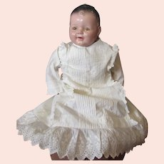 Infant or Large Doll White Long Gown Pin Tucking Lace