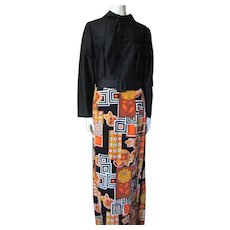 Lounge Dress Dynasty Made in British Crown Colony of Hong Kong Black Knit Velveteen Patchwork Size 16
