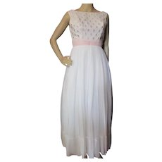 Lovely Prom Dance Gown White & Pink Chiffon 1960 Era