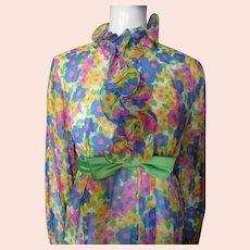 1970 Era Long Gown in Bright Flowers Blue Pink Yellow Green Chiffon