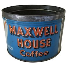 1950 Era Maxwell House Coffee Tin Bright Blue & Orange