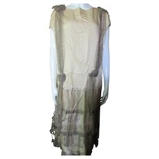 Deco Style Flapper Dress in Butter Silk with Metallic Trim for Salvage