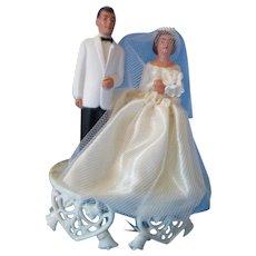 Mid Century Wedding Cake Topper Bride & Groom Plastic Heart & Bell Platform