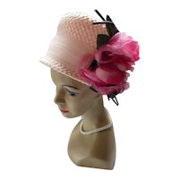 Gorgeous Pink Lampshade Hat with Pair Enormous Roses by Maxine