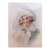 Framed Atkinson Fox Print 1908 Lady in Hat