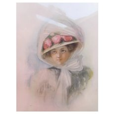 Framed Atkinson Fox Print 1908 Lady in Hat