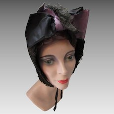 Victorian Era Winter Bonnet Black Velvet Lace Edging Black and Lavender Silk Ribbons