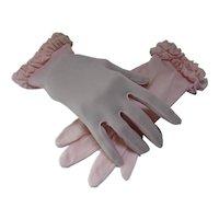 Mid Century Pink Nylon Gloves Ruffled Wrist Fownes Mark Size 7