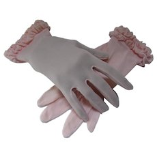 Mid Century Pink Nylon Gloves Ruffled Wrist Fownes Mark Size 7