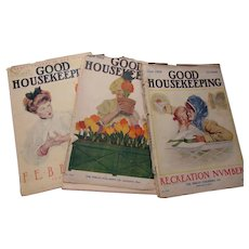 Trio 1909 Good Housekeeping Magazines with Advertisements, Fashions Little Louise Paper Dolls As Is