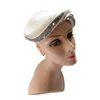 Mid Century Half Hat Cream Long Felt with Silver Tone Bead & Faux Bead Band