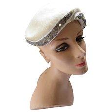 Mid Century Half Hat Cream Long Felt with Silver Tone Bead & Faux Bead Band