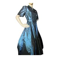 1950 Era Cocktail Dress Green Blue Iridescent Fit & Flare