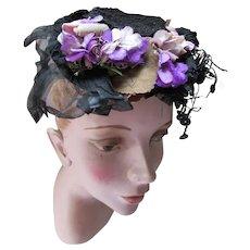 Victorian Era Toque Hat in Black Net Lace Violets & Purple Ribbon 1870's