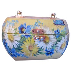 Sunshine Yellow Wood Box Purse with Decoupage Blue White Daisies and Butterflies