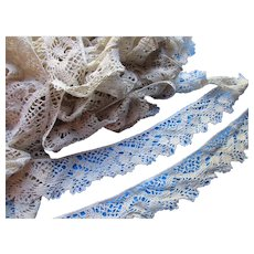 Gargantuan Length of Crochet Lace in Cream Color Open Work with Scallop Edge 18 1/2 Yards