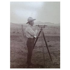 Vintage Photograph Occupational Record Land Surveyor in Early 1900's Larger Size Mount in Black and White