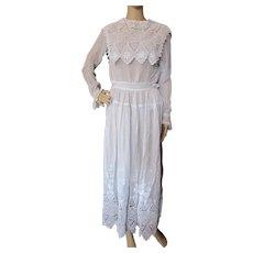 Edwardian Era Summer Dress White Broderie Anglaise
