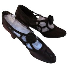 Gorgeous 1930 Style Dance Shoes in Mahogany Satin with Chocolate Brown Velvet Cut-Outs