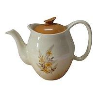 Salem Ovenproof China Ware Tea Pot Pumpkin Color Fall Colors Floral Design