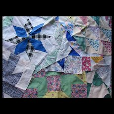 Quilt Squares in Small Prints Multiple Patterns and Sizes Flower Basket Windmill, Star, Flying Geese