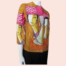 Jacket Blouse Stylized Lady Faces Blu Nor La belle blouse Suisse