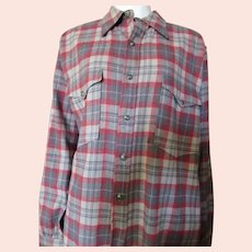 Unisex Pendleton Wool Shirt Jacket Gray Red Plaid