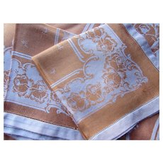 Damask Table Cloth and Napkins in Tones of Copper and White