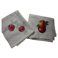 Pair Flour Sack Kitchen Towels in Apple Theme Applique and Embroidery