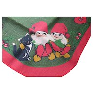 Swedish Norwegian Gnome Christmas Elf Burlap Round Table Cover Bright Green Bright Red