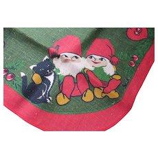 Swedish Norwegian Gnome Christmas Elf Burlap Round Table Cover Bright Green Bright Red