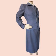 Handsome Suit Slate Blue Wool with Striped Trim Slim Skirt Corset Button Jacket Marshall Field 1940 1950 Style