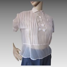 Best Sheer Blouse in Blush Pink 1940 1950 Era with Front Pleated Bows Winnie Kay Design Size 34