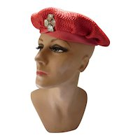 Cherry Red Straw Beret Style Hat with Rhinestone Decoration Clara Stone Beloit WI