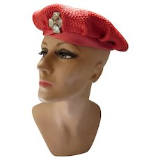 Cherry Red Straw Beret Style Hat with Rhinestone Decoration Clara Stone Beloit WI