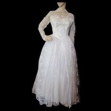 Lace and Tulle Wedding Gown with Full Skirt Mid Century Style